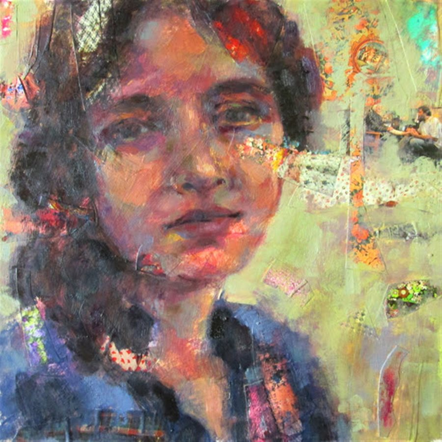 Marjan Sabeti | Portrait No 15  - Mixedmedia on Canvas   - 2016 - 35 x 35 Cm